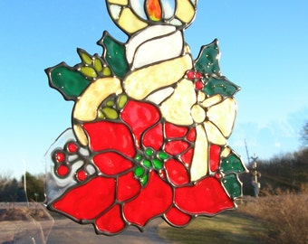Christmas Poinsettia and candle stained glass window Cling 8 x 6