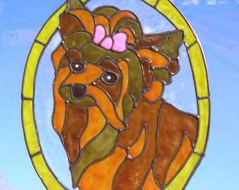 Yorkie dog Stained glass window Cling 8 x 10.5