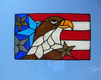 American Flag with the Eagle stained glass window Cling