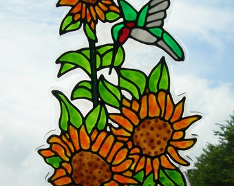 Sunflower and Hummingbird stained glass window Cling