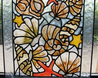 Sea Shell mix stained acrylic glass window