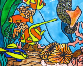 Tropical fish in the reef stained glass window