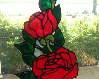 Rose and rose bud stained glass window Cling