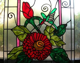 Rose bud amd flower with hummingbird  stained acrylic glass window