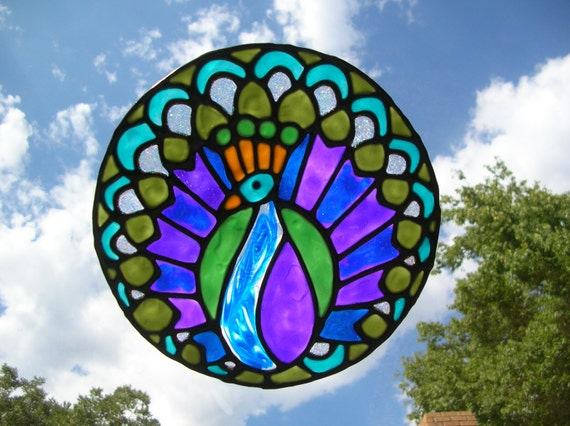 peacock bird stained glass window cling 7 5 diameter. Black Bedroom Furniture Sets. Home Design Ideas
