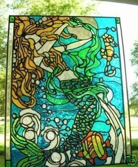 mermaid, seahorse,nautical ocean stained glass window