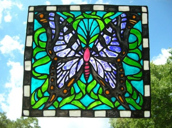 Butterfly stained glass window cling Large 10.5 x 9.5