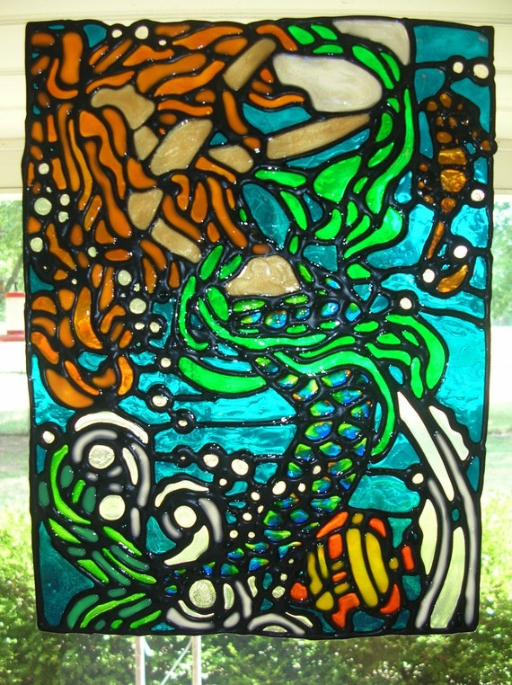 mermaid with moon and seahorse stained glass window cling