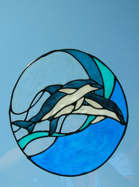 Dolphins Jumping In Wave Stained Glass Window Cling