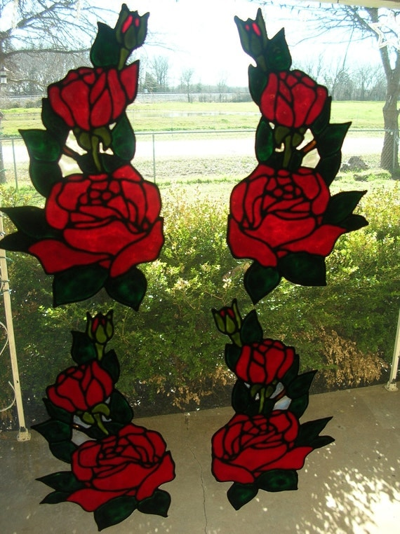 Rose and rose bud 4 corners stained glass window clings