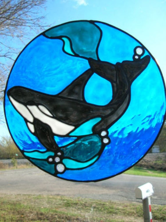 Orca In The Ocean Stained Glass Window Cling By