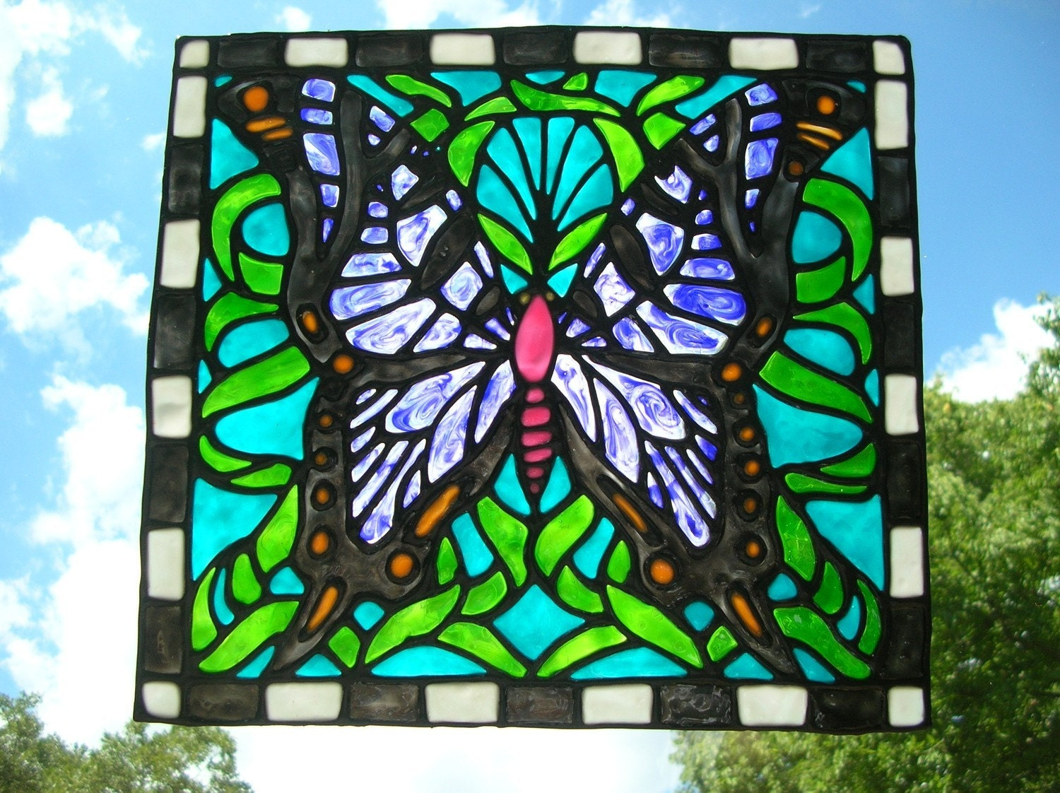 Butterfly Stained Glass Window Cling Large 10 5 By