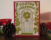 Pack of 6 Yuletide Welcoming Door Cards - Original Lino Prints
