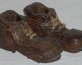Vintage Carved Wood Wooden Pair of Shoes Planters Berchtesgaden Germany