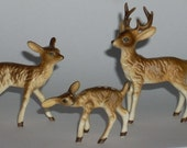 Vintage Miniature Deer Family Buck Doe Fawn Figurines