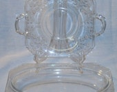 Fostoria Glass Manor Etch Lemon Plate Dish and Oval Bowl