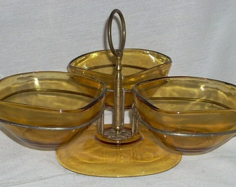 Mid Century Amber Glass 3 Part Server Vereco France