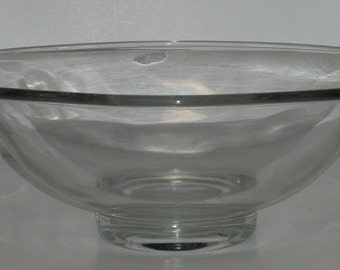 Mid Century Modern Cambridge Clear Glass Pristine Bowl with Tuck Handles