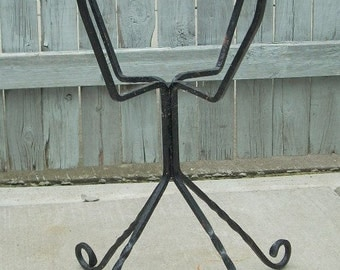 Vintage Black Wrought Iron Plant Planter Stand
