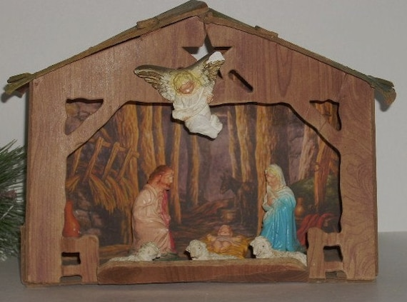 Vintage Cardboard Nativity Stable and Figures