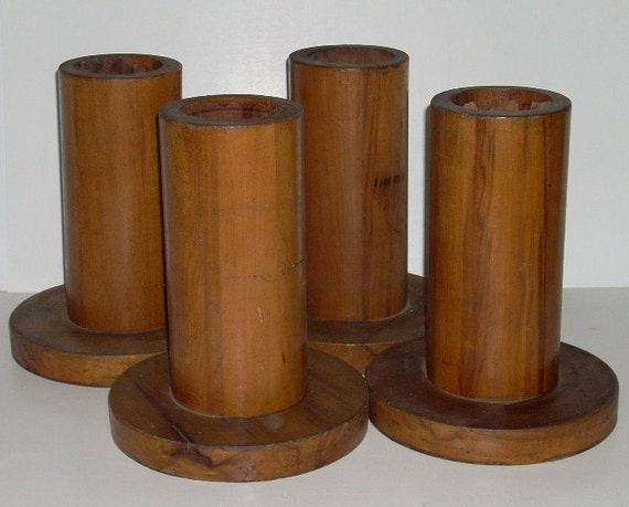 Antique Wooden Wood Tall Bed Risers by diantiques on Etsy