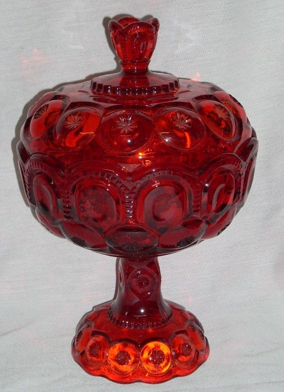 LARGE 12 inch Wright Smith Glass Ruby Red Moon Star Candy Jar
