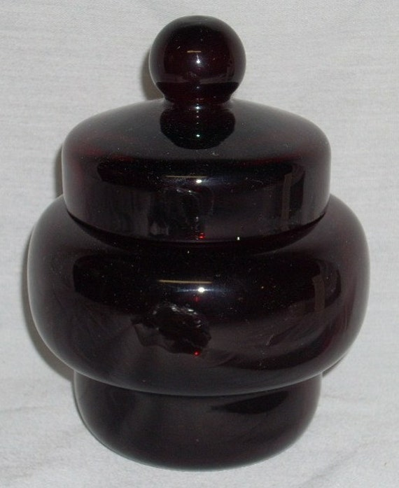 Mid Century Ruby Red Glass Apothecary Jar