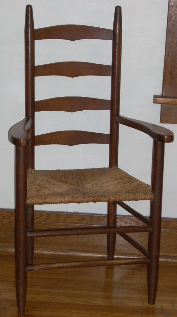 Antique ladder back chairs with rush seats - Antique Oak Ladder Back Arm Chair With Rush Seat