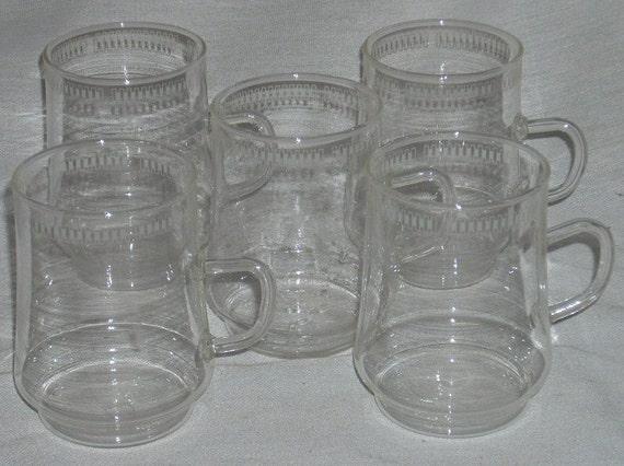 5 Schott Mainz Jena Glas Bauhaus Glass Cups Mugs Verran Collection