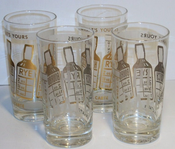 Vintage Mid Century Barware Hi Ball Glasses Gold Bottles