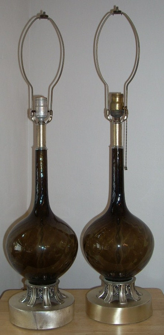 Mid Century Smoke Glass Table Lamps