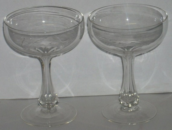 2 Hollow Stem Champagne Glasses Panel Cut