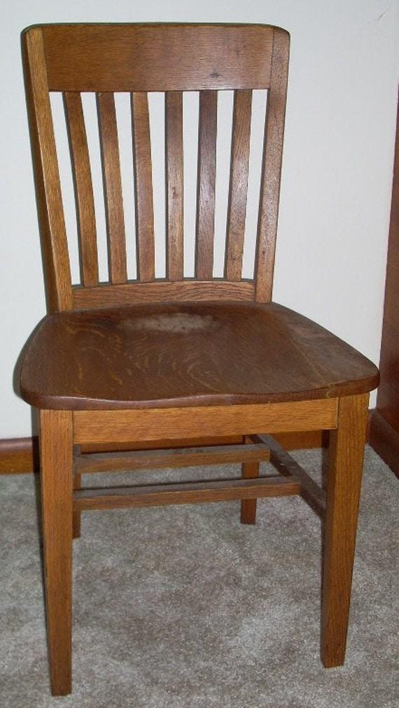 Antique Oak School Desk Office Chair