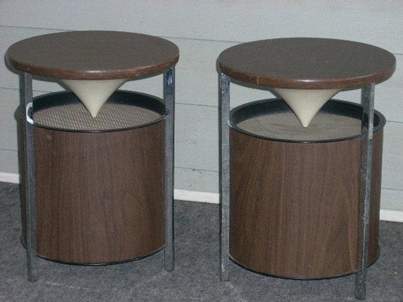 Mid Century Modern Retro Chrome Table Reflecting Speakers