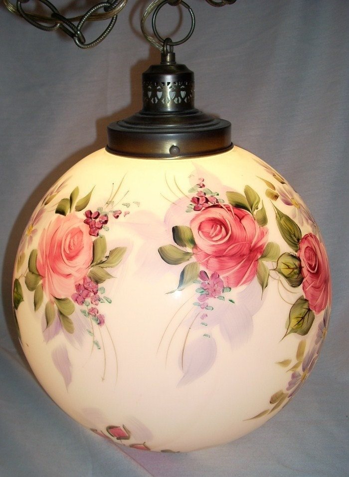 Hand Painted Roses Glass Hanging Swag Globe Light Lamp Signed
