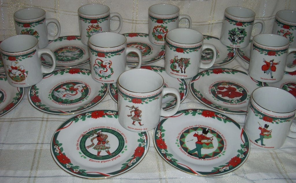 Tienshan Twelve 12 Days of Christmas Mugs Plates by diantiques