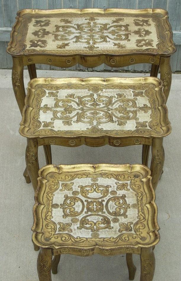 Vintage Italian Florentine Set 3 Nesting Tables Italy