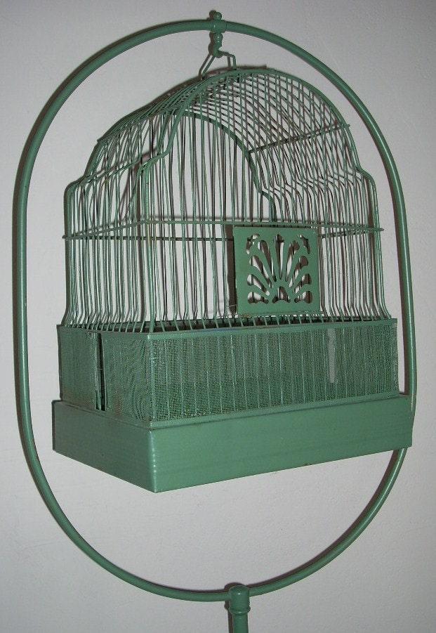 reserved for michelle antique metal bird cage birdcage stand. Black Bedroom Furniture Sets. Home Design Ideas