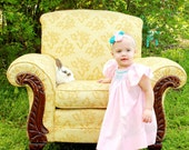 Create your own monogrammed smocked bishop dress, size newborn-5T