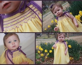 The Allie smocked dress, size newborn-4T (please note that the dress is a pale yellow, not as bright as it appears in the pictures)