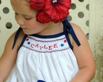 Red, White, and Beautiful,  smocked monogram dress, size newborn-4T (up to a size 8 girls in navy)
