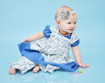 Blue Meadows- reverse knot dress, size 6mos.-5T