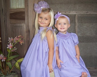 Royal,  handsmocked purple bishop dress, size 6mos.-5T