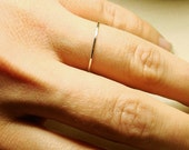 Solid 14k Gold Stack Ring - Thread of Gold- Tiny Halo Hammered Stack Ring - Delicate Jewelry