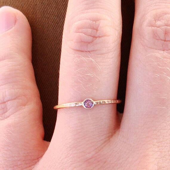 BACKORDERED  - Halo of Gold - Hammered Stack Ring with Sterling Silver Set Faceted Stone