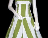 Lime Green Striped Summer Two Piece Dress