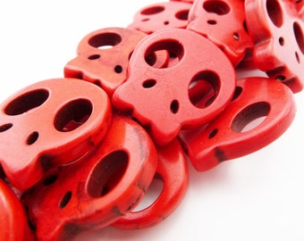 Red Skull Beads, 20mm, Flat Skulls, Red Beads, Sugar Skulls, Skull Beads, Howlite Stone Beads -B210