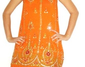 South Indian Amber Gold Sequin Dress