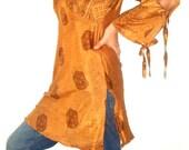 Silk Saree Kaftan dress in BRONZE Print-boho hippie chic, silk dress, silk kaftan, Scarf Dress