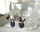 SALE Handmade Amethyst teardrop earrings with semi precious clusters